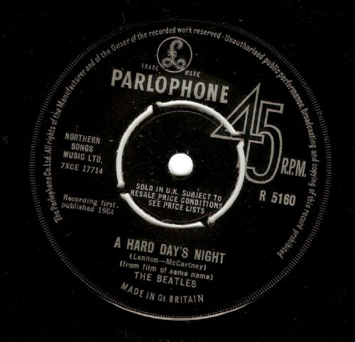 THE BEATLES A Hard Day's Night Vinyl Record 7 Inch Parlophone 1964